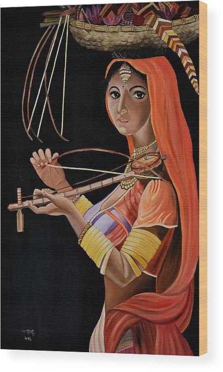 People Wood Print featuring the painting Lambani Girl by Usha Rai