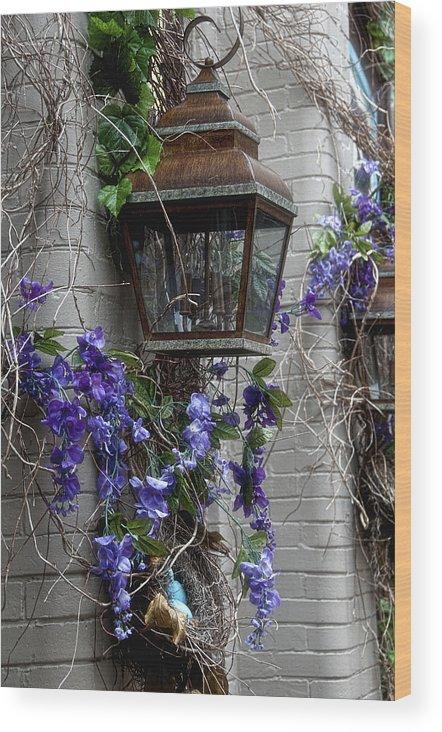 Lantern Wood Print featuring the photograph Lantern N Vines by Sheri Bartoszek
