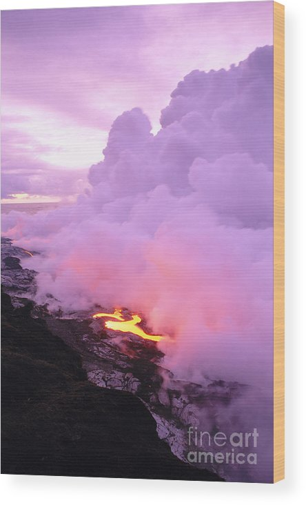 A'a Wood Print featuring the photograph Lava Enters Ocean by Peter French - Printscapes