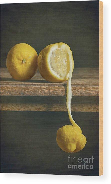 Lemon Wood Print featuring the photograph Lemons by Amanda Elwell