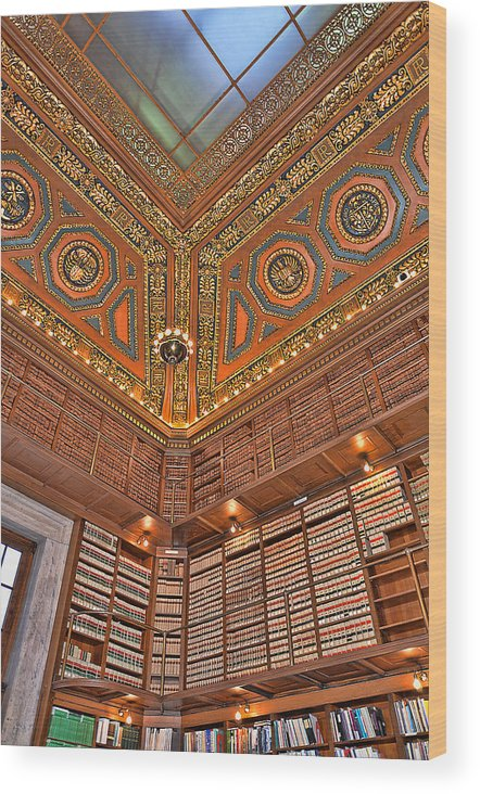 State House Wood Print featuring the photograph Library Details by Melissa Hicks