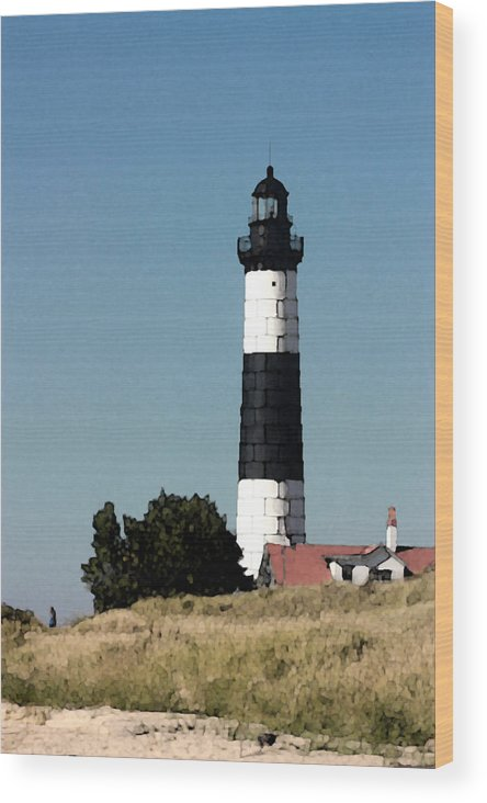 Big Sable Wood Print featuring the digital art Lighthouse At Ludington Michigan by Christopher Purcell
