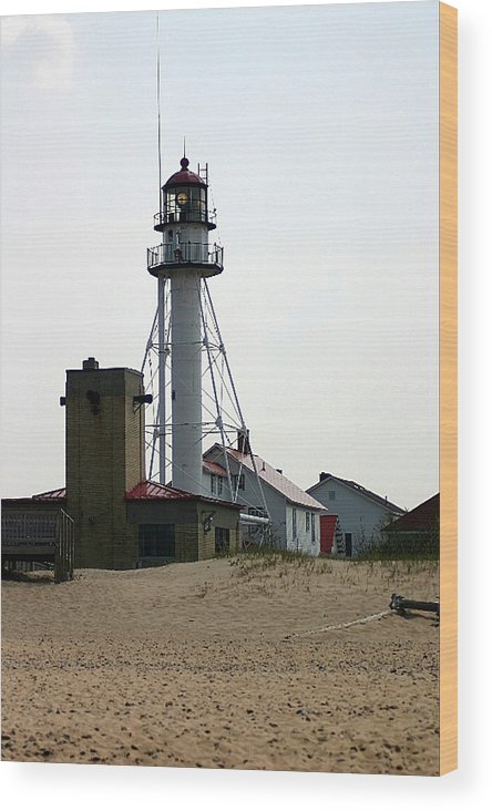 Lighthouses Wood Print featuring the photograph Lighthouse At White Fish Point Michigan by Vincent Duis