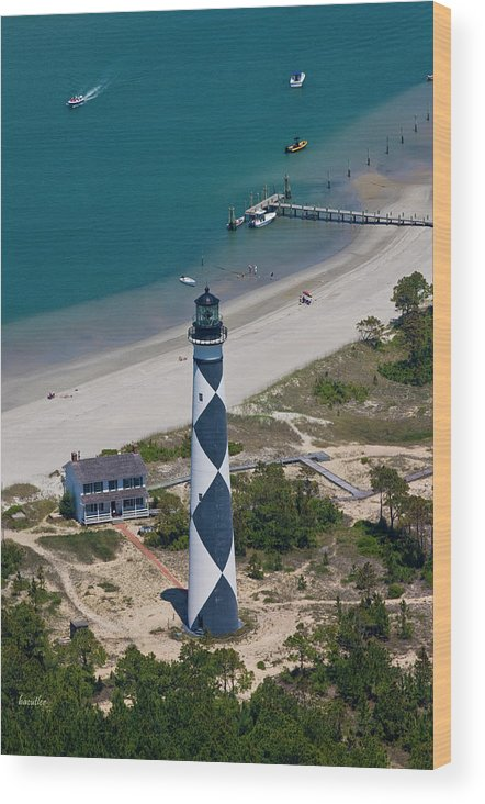 Cape Wood Print featuring the photograph Lighthouse From Above by Betsy Knapp
