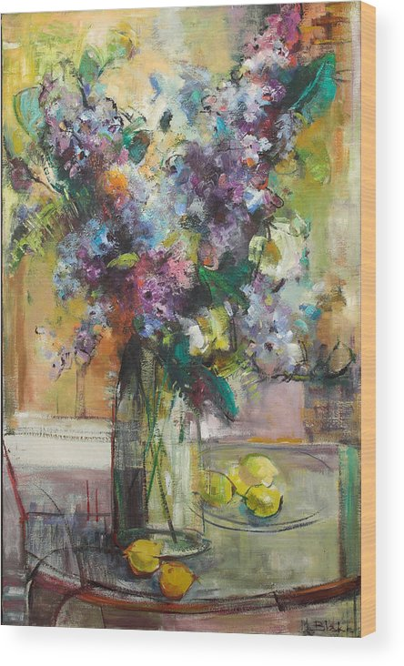 Lilacs Wood Print featuring the painting Lilacs And Lemons by Blake Originals - Marjorie and Beverly