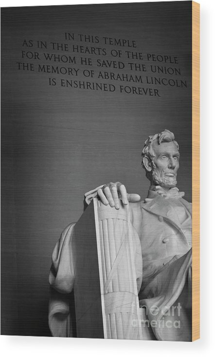 Abraham Wood Print featuring the photograph Lincoln Memorial In Washington Dc President by Lane Erickson