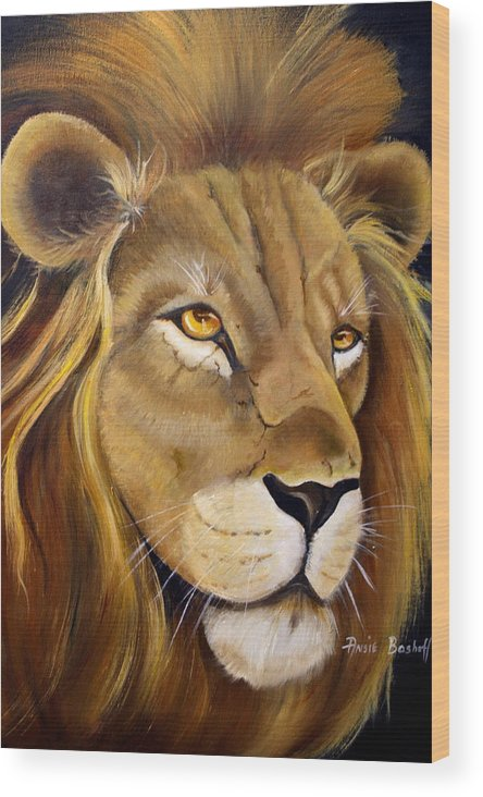 Animals Wood Print featuring the painting Lion Male by Ansie Boshoff