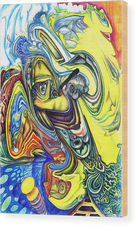 Abstract Wood Print featuring the mixed media Little Boy Blue by James Hammons