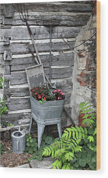 Creative Wood Print featuring the photograph Log Cabin Garden Scene by Linda Phelps