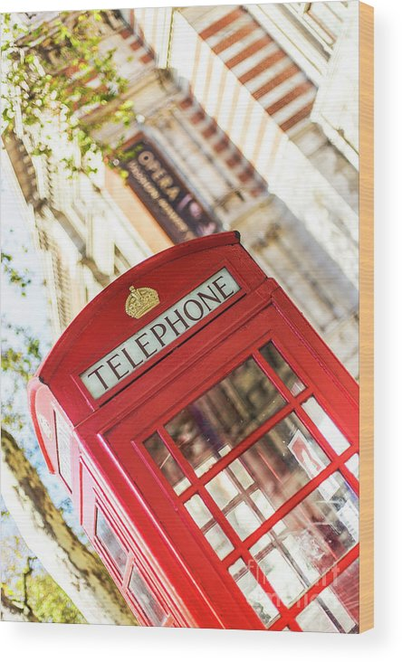 Big Ben Wood Print featuring the photograph London Telephone 3 by Alex Art and Photo