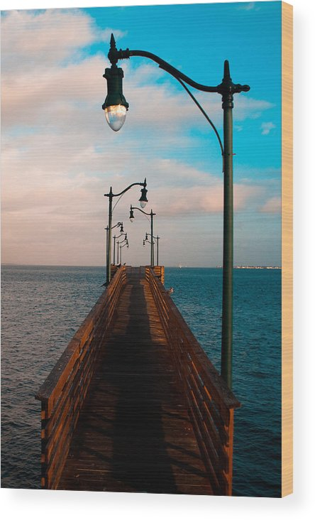 Fine Wood Print featuring the photograph Lonely Pier by Michael Herb