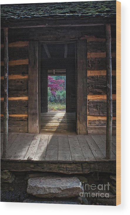 Looking Through John Oliver's Cabin Wood Print featuring the photograph Looking Through John Oliver's Cabin by Priscilla Burgers