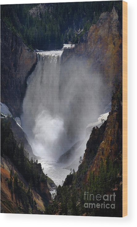 America Wood Print featuring the photograph Lower Yellowstone Waterfall Falls In Canyon National Park by Lane Erickson