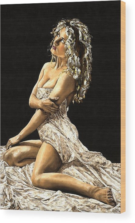 Nude Wood Print featuring the painting Luminous by Richard Young