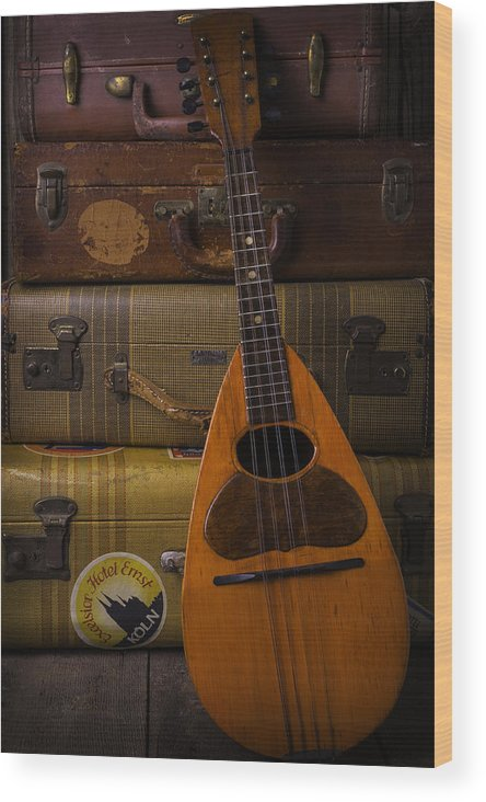 Suitcase Wood Print featuring the photograph Mandolin And Suitcases by Garry Gay