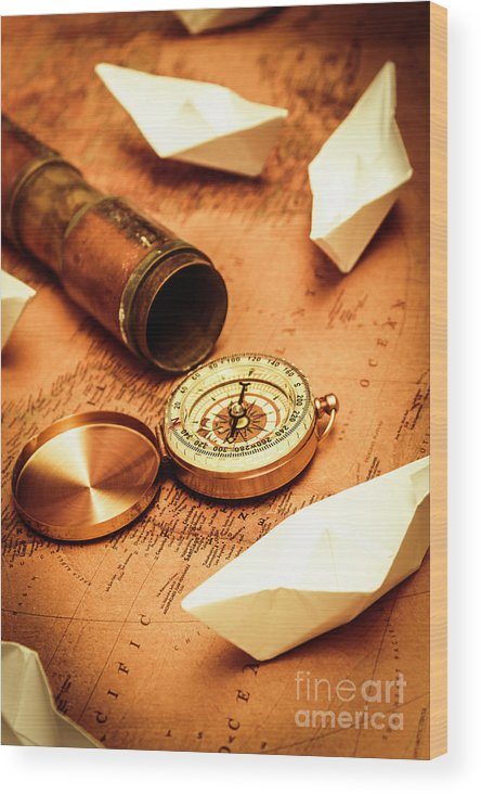 Vintage Wood Print featuring the photograph Maps And Bearings by Jorgo Photography - Wall Art Gallery