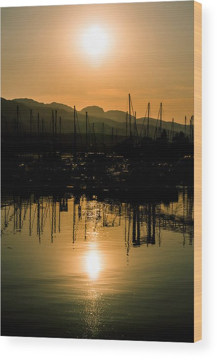 Landscape Wood Print featuring the photograph Marine Sunset by Wayne Enslow