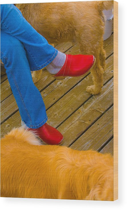 Shoes Wood Print featuring the digital art Marys Red Shoes by John Toxey