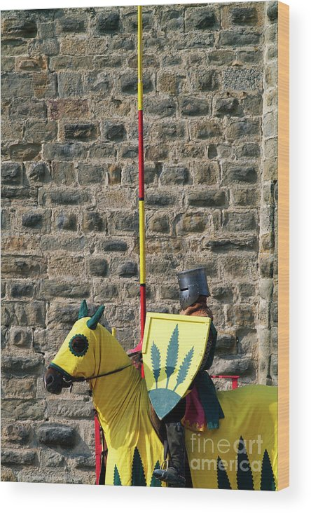 Adult Wood Print featuring the photograph Medieval Knight On His Horse During A Show In Carcassonne by Sami Sarkis