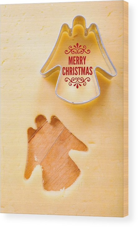 Merry Christmas Wood Print featuring the photograph Merry Christmas Angel Cookie Cutter by Matthias Hauser