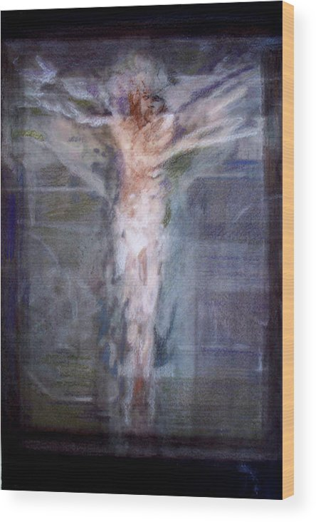 Crucifixion Wood Print featuring the painting Mhc #091229 by John Warren OAKES