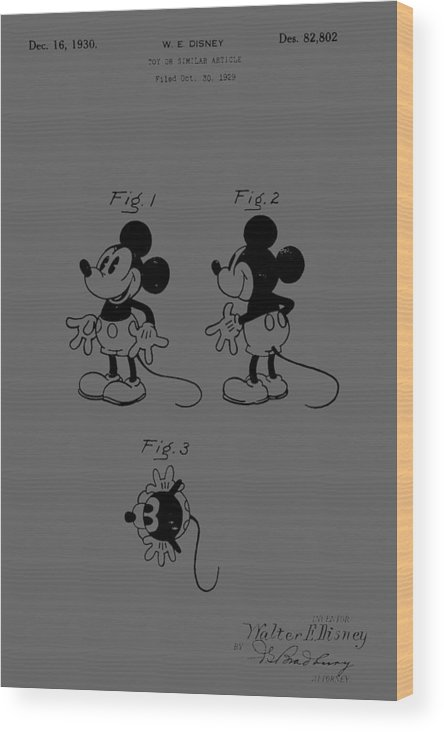 Vintage; Mickey; Mouse; Character; Figure; Toy; Disney; Walt; Old; Game; Cartoon; Animation; Patent; 1929; Invention; Fashion; Designer; Design; Abstract; Brand; T-shirt; Hoodies; Patent Illustration; Crafts; Blueprint; Collectable; Vintage Patent; Nostalgia; Technical Illustration; Patent Drawing; Exclusive Rights; Rights; Drawing; Illustration; Presentation; Vintage; Gift; Diagram; Antique; Patentee; Men's; Men; Women; Women's; Boy; Girl; Patent Application; Graphic; Chris Smith Wood Print featuring the photograph Mickey Mouse Character Figure Patent 1929 by Chris Smith