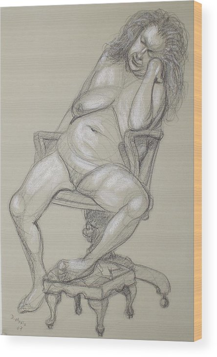 Realism Wood Print featuring the drawing Miriam 1 by Donelli DiMaria