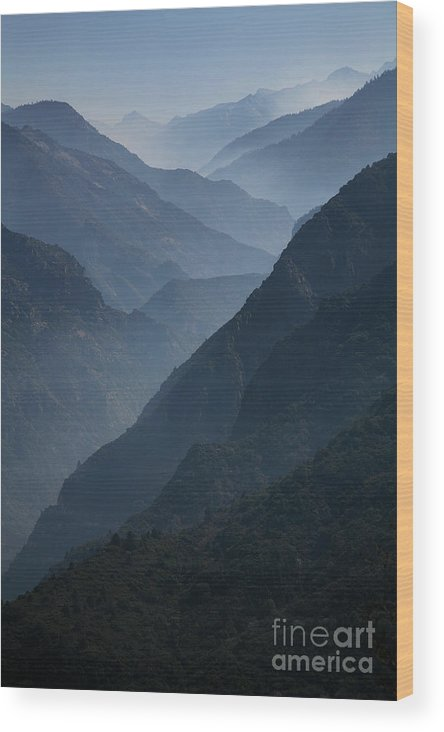 Mountains Wood Print featuring the photograph Misty Peaks by Timothy Johnson