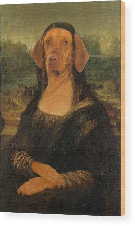 Mona Lisa Wood Print featuring the digital art Mona Visla by Galen Hazelhofer