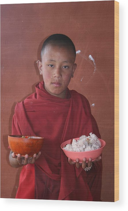 Bhutan Monk Lunch Rice Child Robes Bhutanese Wood Print featuring the photograph Monks Lunch by Linda Russell
