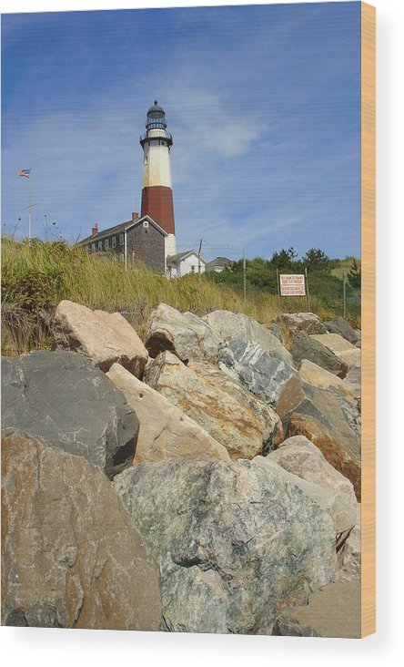 Montauk Wood Print featuring the photograph Montauk Lighthouse 2 by Michael Simeone