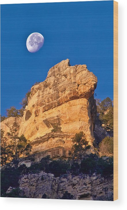 Moon Wood Print featuring the photograph Moon Over The Canyon by Jacek Joniec