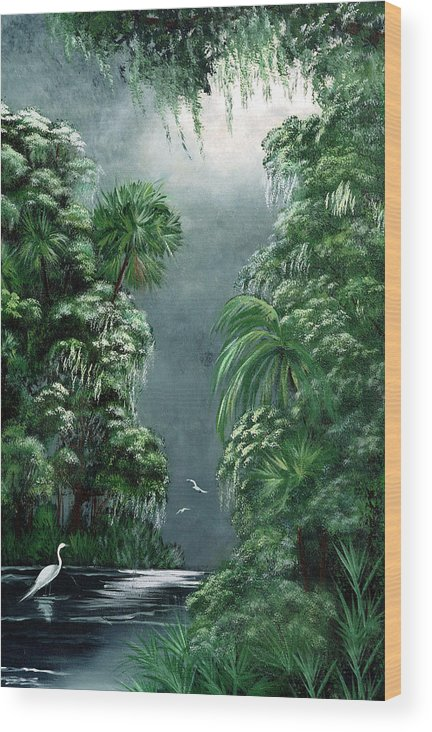 Swamp Wood Print featuring the painting Moonlight Swamp by Darlene Green