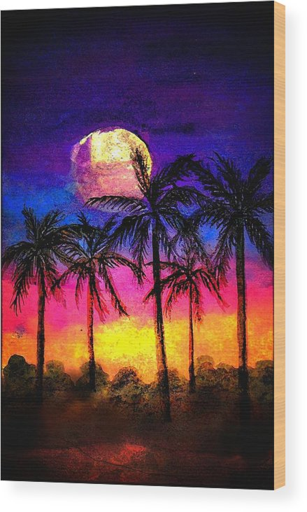 Silhouette Wood Print featuring the painting Moonrise Over The Tropics by Dina Sierra