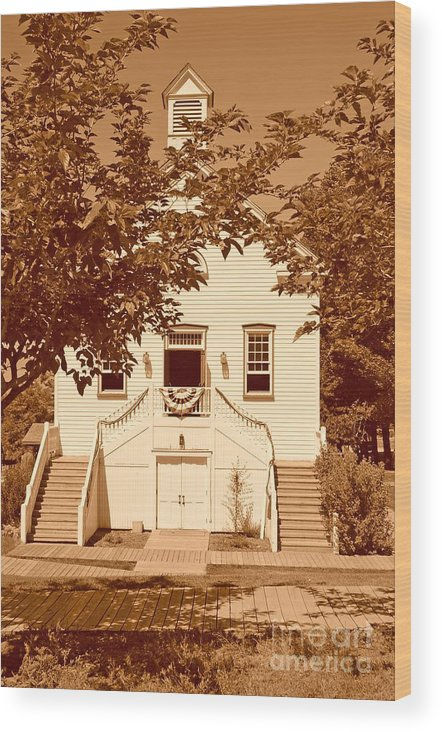 Sepia Wood Print featuring the photograph Mormon Pine Valley Meeting House by Dennis Hammer