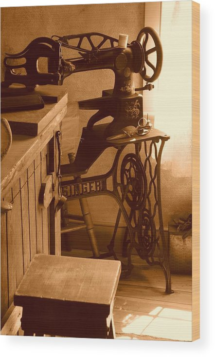 Sepia Wood Print featuring the photograph Mormon Singer Sewing Machine by Dennis Hammer