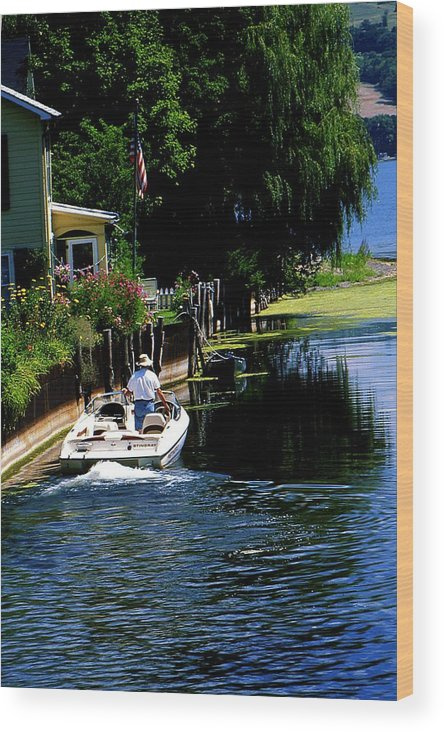 Seneca Lake Wood Print featuring the photograph Motor Boat On Canal by Roger Soule