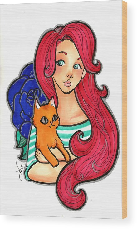 Copic Wood Print featuring the drawing My Orange Cat by Daniela Valentini
