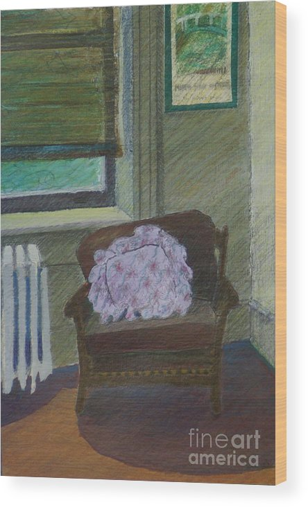 Chair Wood Print featuring the painting My Student Apartment by Suzn Art Memorial