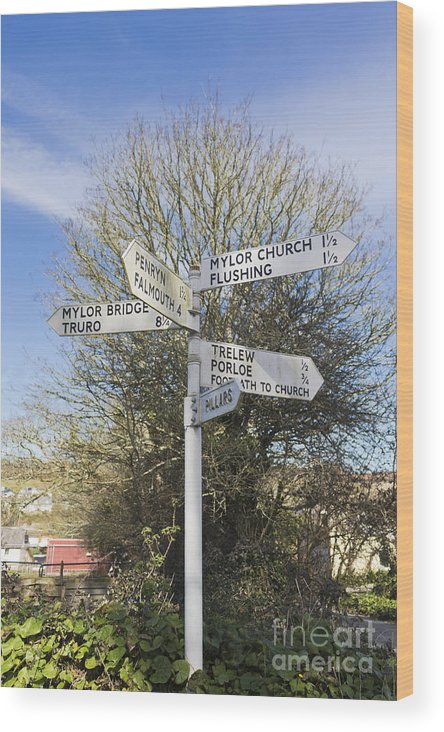 Mylor Wood Print featuring the photograph Mylor Signpost by Terri Waters