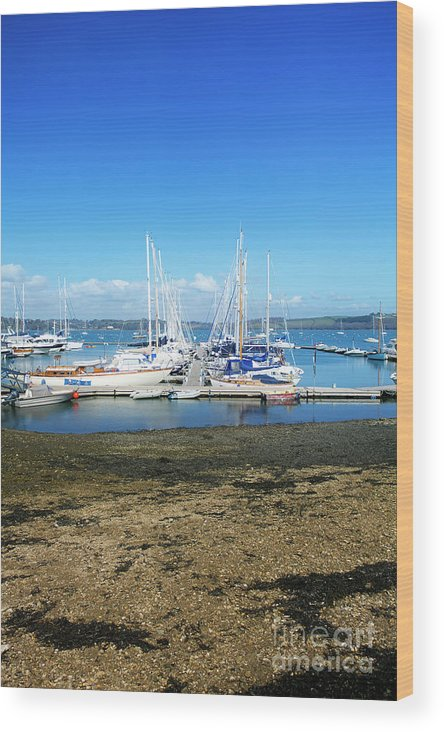 Mylor Wood Print featuring the photograph Mylor Yacht Pontoon by Terri Waters
