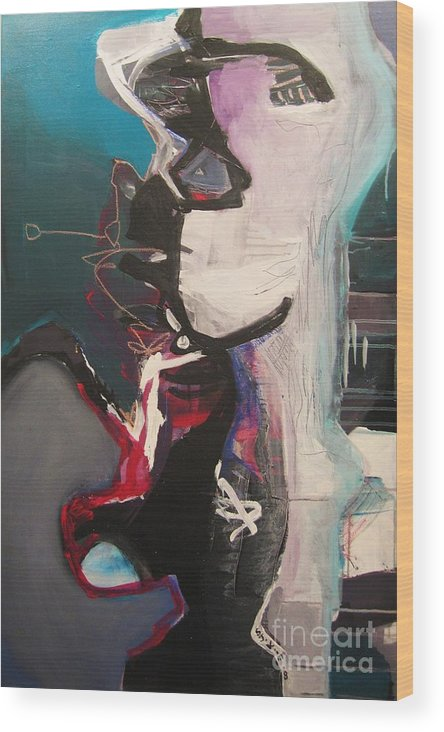 Abstract Art Paintings Wood Print featuring the painting Nagging Voice by Seon-Jeong Kim