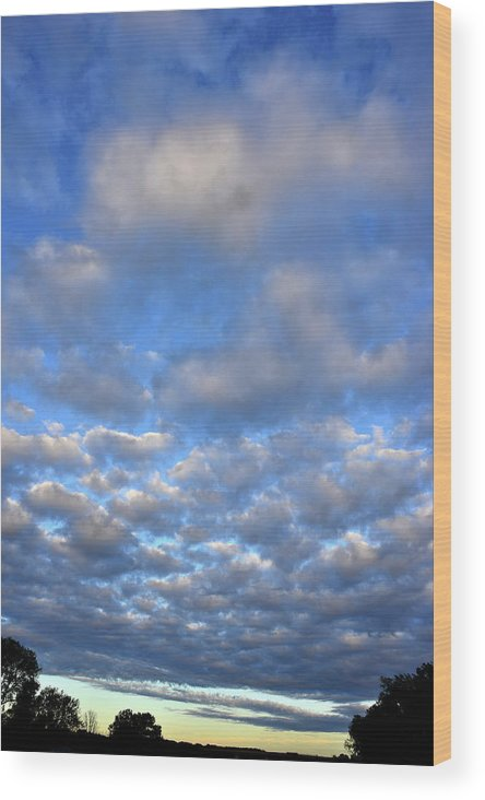 Clouds Wood Print featuring the photograph Nebraskan Altocumulus Clouds by Ray Mathis