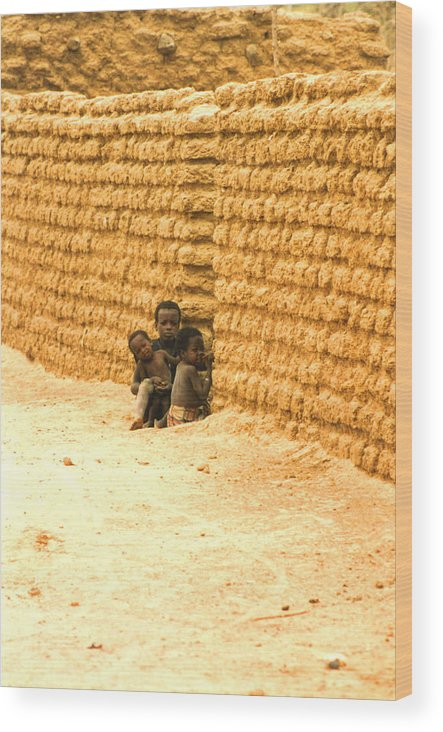 Africa Wood Print featuring the photograph Niger Village Brothers by Robert M Brown II