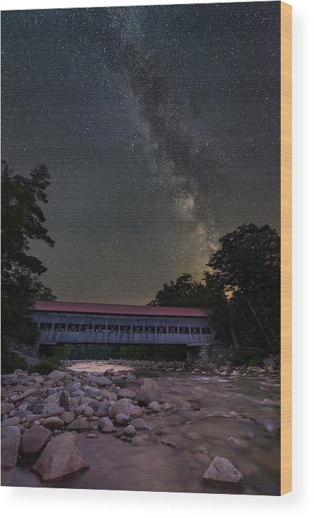 New Hampshire Wood Print featuring the photograph Night On The Swift River by Michael Blanchette