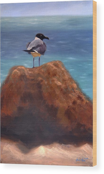 Oil Wood Print featuring the painting Ocean View by Greg Neal