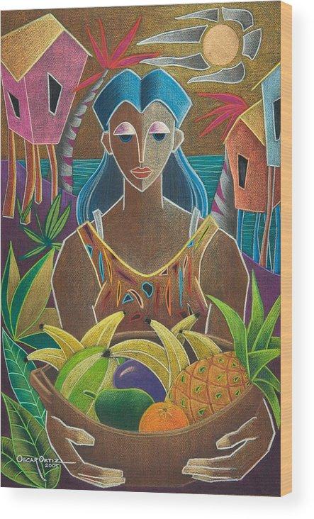 Female Wood Print featuring the painting Ofrendas De Mi Tierra by Oscar Ortiz