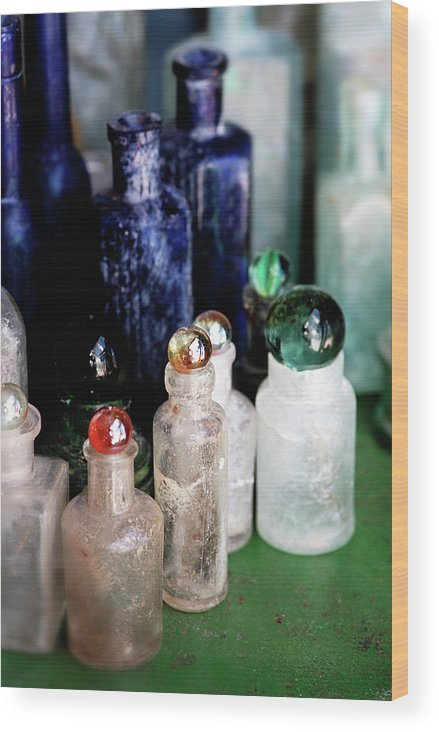 Bottle Wood Print featuring the photograph Old Bottles by Neil Overy