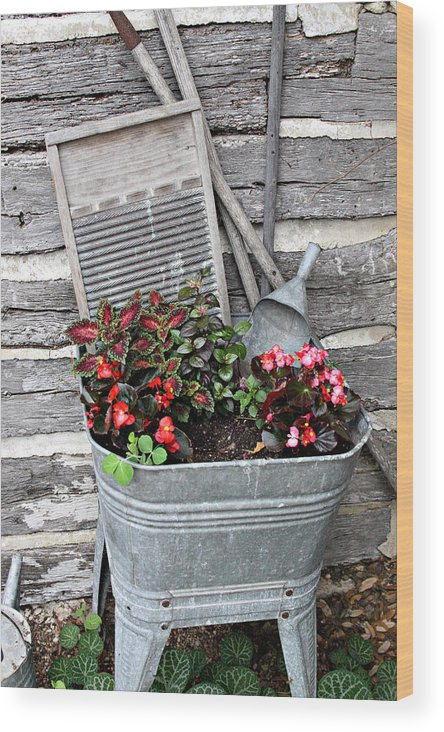 Rural Wood Print featuring the photograph Old Fashion Elements With Flowers by Linda Phelps
