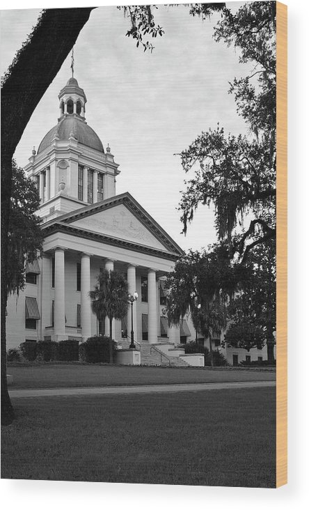Black And White Photography Wood Print featuring the photograph Old Florida State Capitol by Wayne Denmark